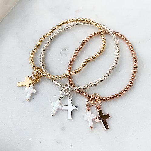 White Opalite Double Cross Charm Bracelet
