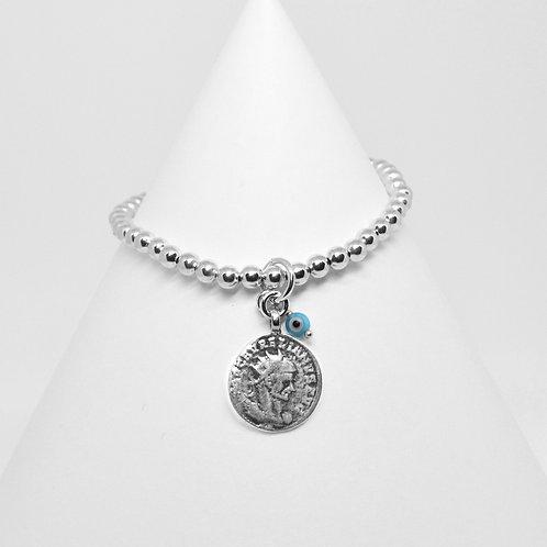 Athena Coin & Mini Mati Charm 4mm Bracelet
