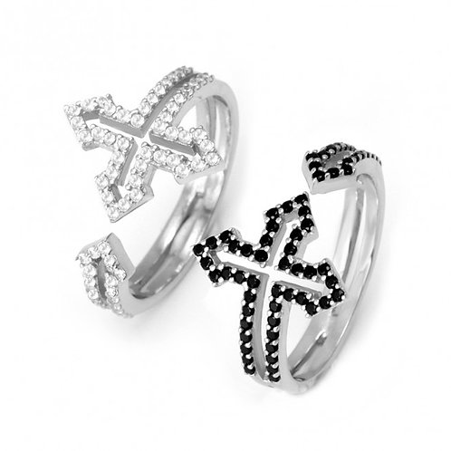 CZ Greek Side-Cross Ring