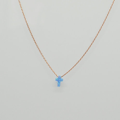 Mini Blue Opalite Cross Necklace