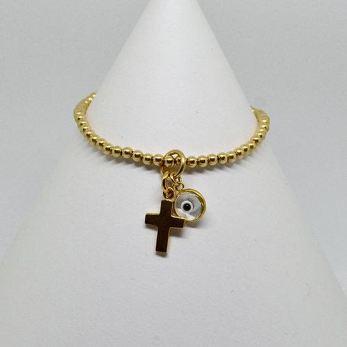 Cross & Mati Bracelet in Gold