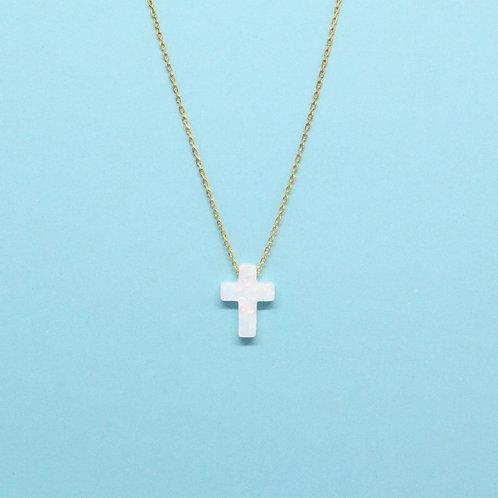 White Opalite Cross Necklace
