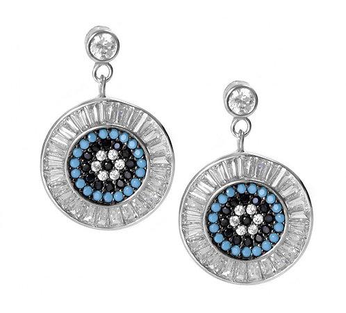 CZ Blue Mati Baguette Earrings