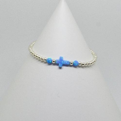 Opalite Side Cross Bracelet in Silver