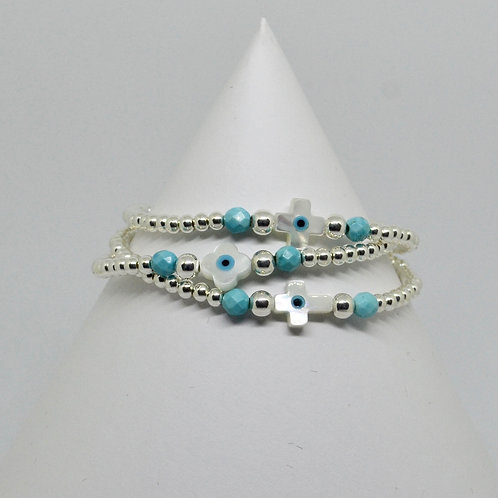 Mother of Pearl Mati Cross Bracelet in Silver