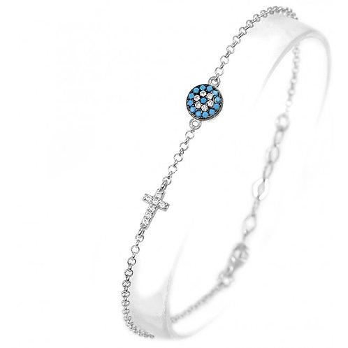 CZ Turquoise Mini Mati and Cross Bracelet