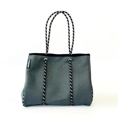 Hedzup Dark Grey Neoprene Tote Bag with Black & White Straps