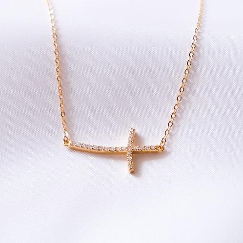 CZ Side Cross Necklace