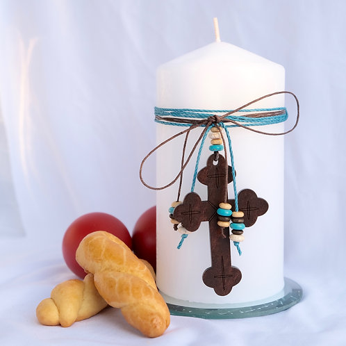 Wooden Cross Table Candle