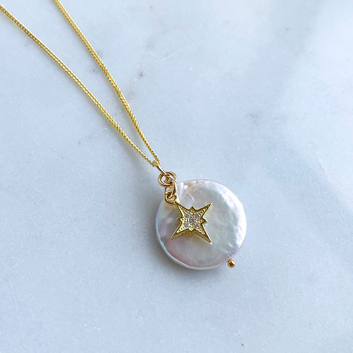 Star Pearl Charm Necklace