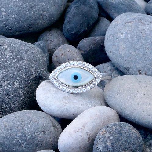 Pearl CZ Oval Mati Ring