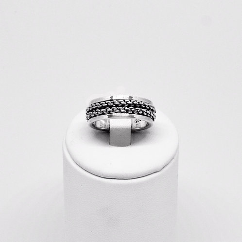 Silver chain Spinner Ring