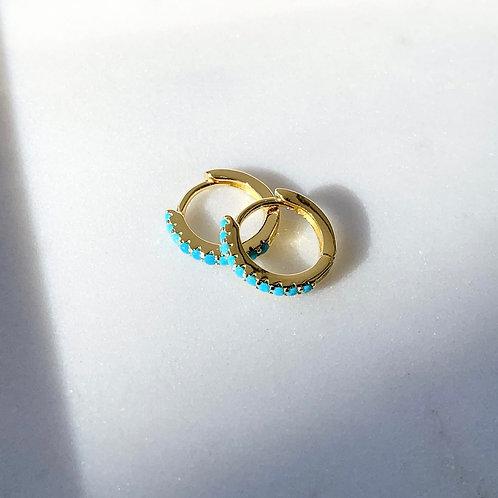 Turquoise CZ Mini Hoops