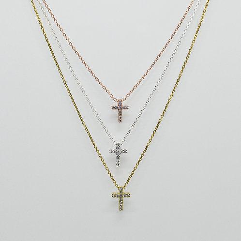 Mini CZ Cross Necklace