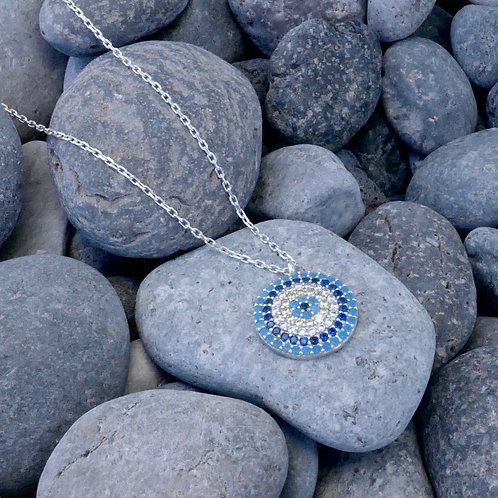 CZ Multi Blue Mati Necklace