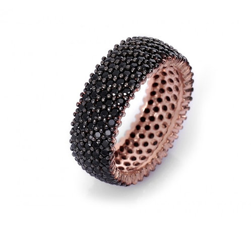 Black CZ wide band ring