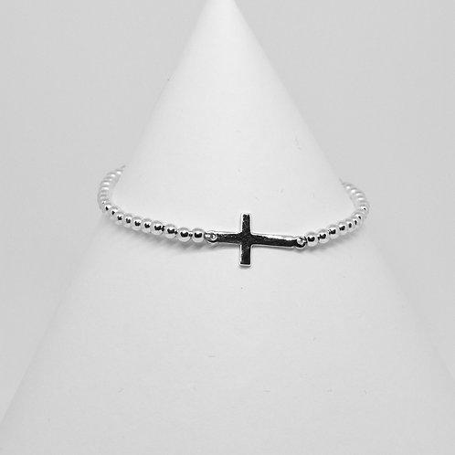 Silver Cross Link Bracelet