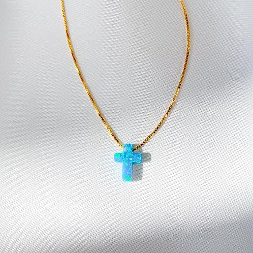 Paros Opalite Medium Cross Necklace