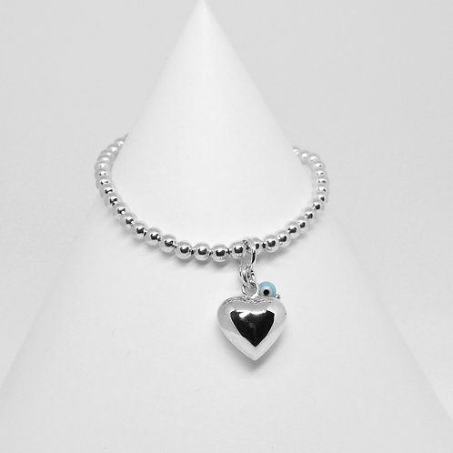Puffy Heart Charm 4mm Bracelet