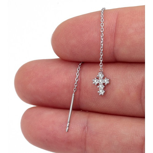Mini CZ Cross Thread Earrings