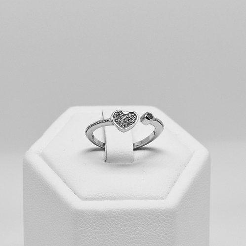CZ Heart Split Ring