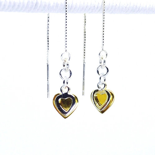 Two Tone Heart Thread Earrings