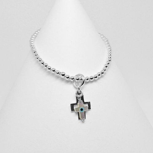MOP/Silver Double Cross Charm Bracelet