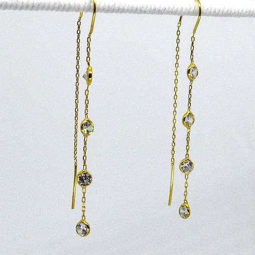 Four Stone CZ Thread Earrings