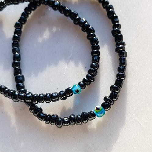 Black Seed Bead Mati Bracelet