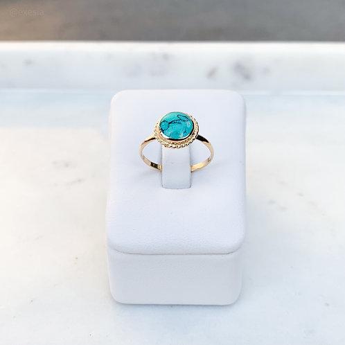 Golden Round TQ Howlite Ring