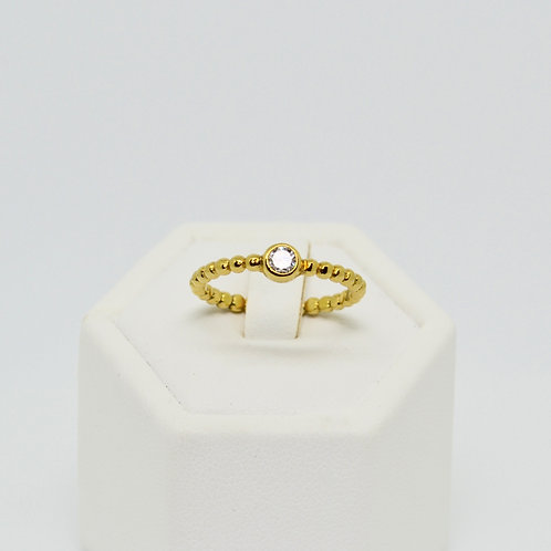 CZ Solitaire Twist Band Ring