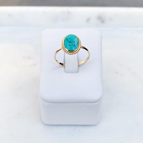 Golden Oval TQ Howlite Ring