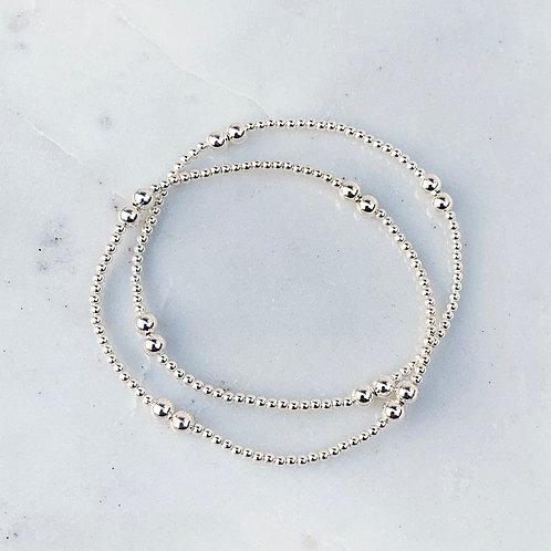 Doubles Silver Stacking Bracelet