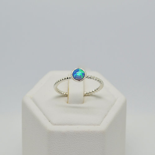 Opalite Blue Solitaire Twist Band Ring