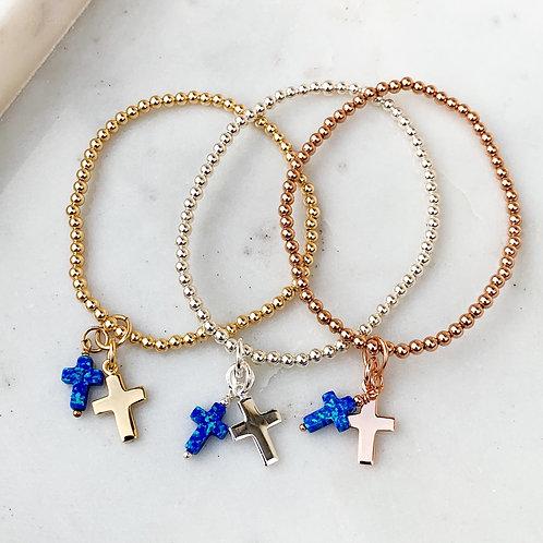 Navy Opalite Double Cross Charm Bracelet