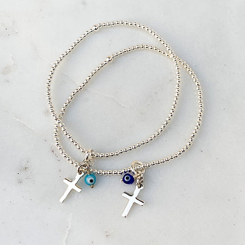 Mini Cross and Mati Bracelet