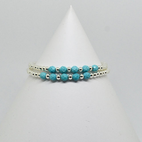 Turquoise Accent Stacking Bracelet in Silver
