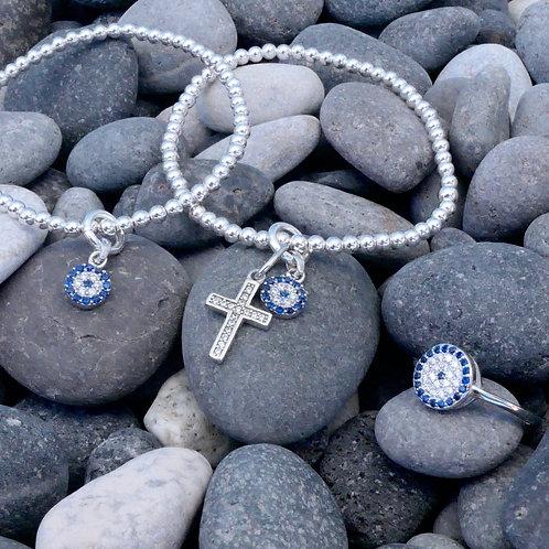 CZ Cross & Mati Charm 3mm Bracelet