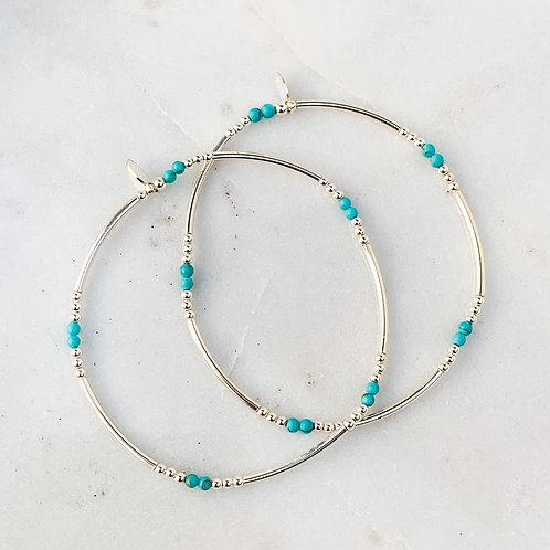 Turquoise Silver Tube Bracelet