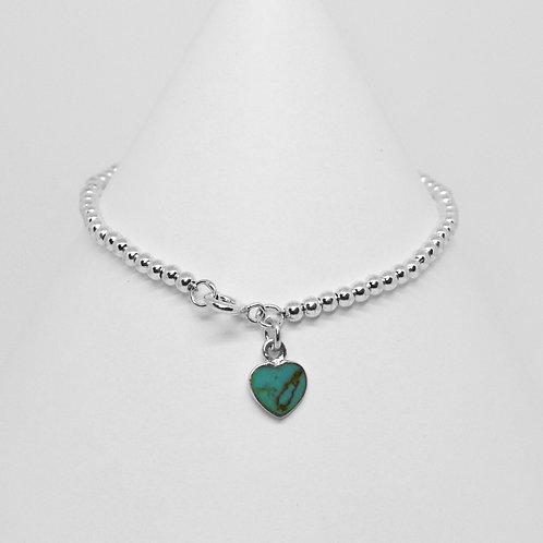 Heart Charm 3mm Clasp Bracelet