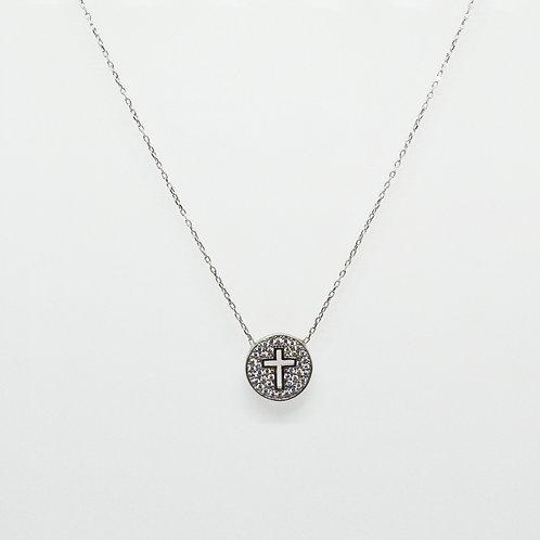 CZ Cutout Cross Necklace