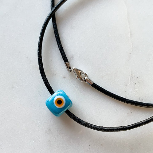 Mati Bead Black Leather necklace