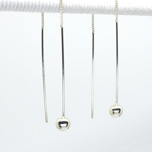 Silver Ball Thread Earrings