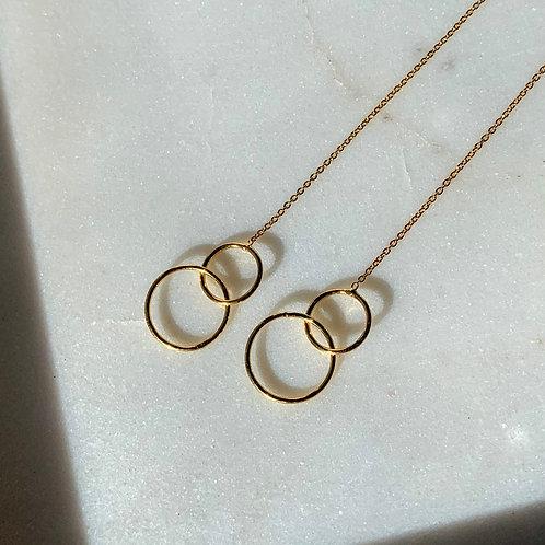 Double Circle Thread Earrings
