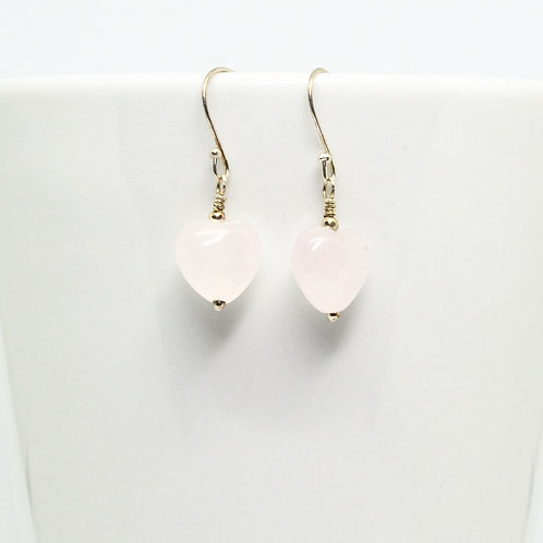 Rose Quartz Heart Earrings-Small