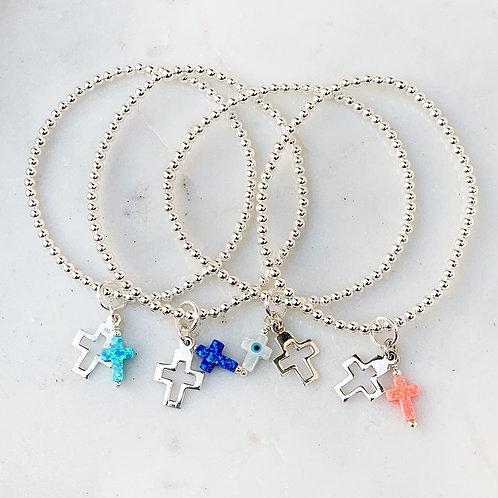 Cut out  Double Cross Charm Bracelet