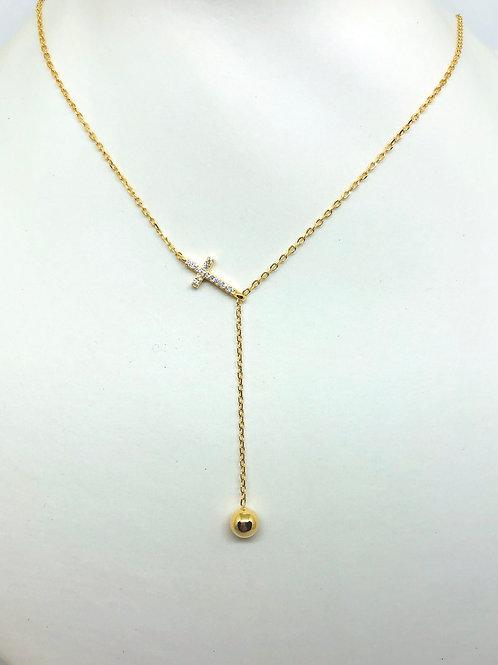 CZ Cross Lariat Necklace