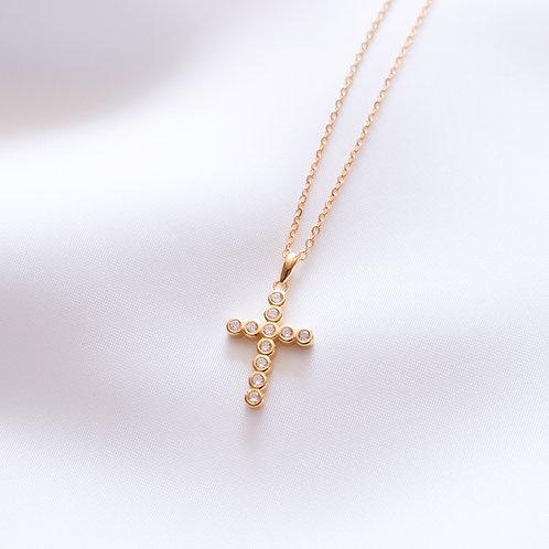Large CZ Cross Necklace