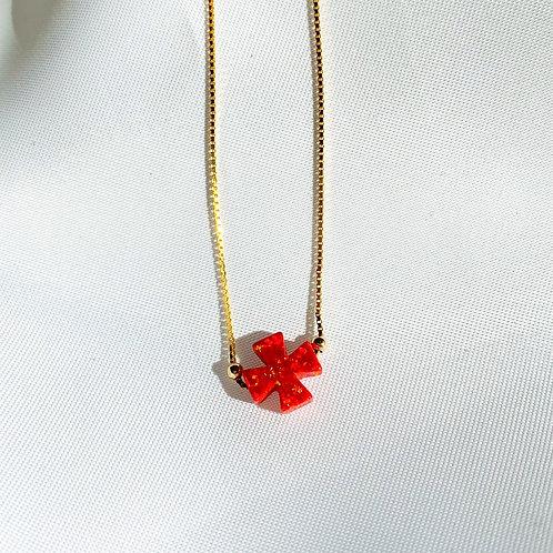 Mikonos Opalite Cross Choker Necklace
