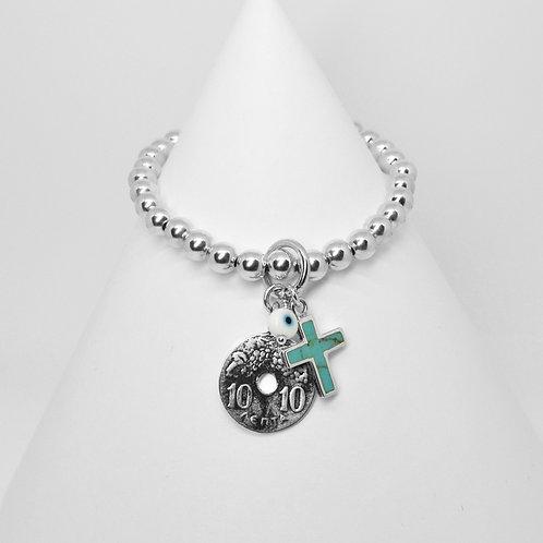 Greek Drachma,Cross & Mati Charm 6mm Bracelet